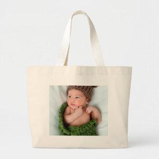 La foto personalizada lo hace usted mismo bolsa tela grande