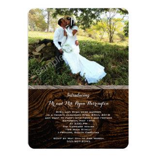 """La foto privada del boda del grano de madera invitación 5"""" x 7"""""""