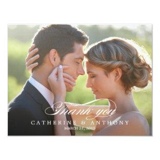 La foto pura del boda de la elegancia le agradece invitación 10,8 x 13,9 cm
