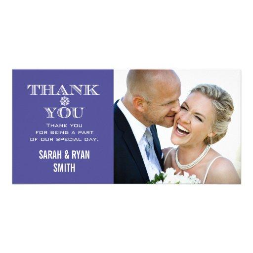 La foto púrpura del boda del copo de nieve le agra tarjeta fotográfica personalizada