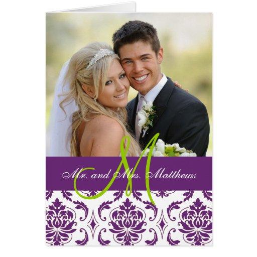 La foto púrpura del boda del damasco le agradece felicitación
