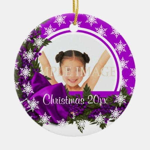 La foto púrpura del copo de nieve personaliza ornamentos de reyes magos