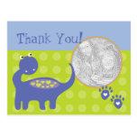 La foto púrpura del cumpleaños del dinosaurio le a tarjetas postales
