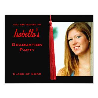 La foto roja moderna de la graduación de Tassle Invitación Personalizada