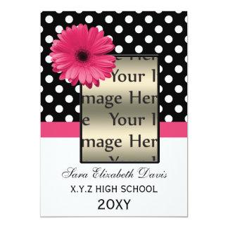 """la foto rosada de la graduación de la margarita de invitación 5"""" x 7"""""""