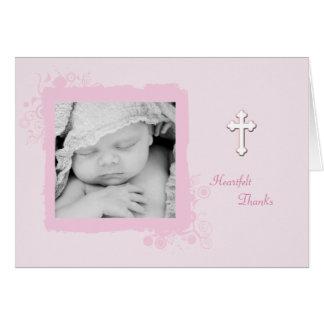 La foto rosada suave agradece la tarjeta usted/de