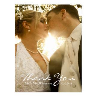 La foto simple del boda le agradece la nota el | postal