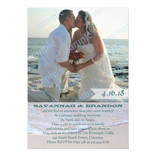 La foto temática de la recepción nupcial de la pla invitaciones personalizada