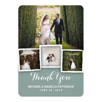 """La foto verde del boda del vintage le agradece invitación 5"""" x 7"""""""