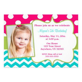 La foto verde rosada de Chevron del trullo invita Invitación