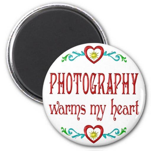 La fotografía calienta mi corazón imán redondo 5 cm