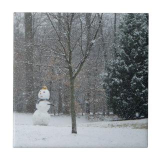 La fotografía de la nieve del invierno del muñeco azulejo cuadrado pequeño