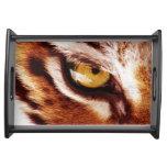 La fotografía del ojo del tigre bandeja