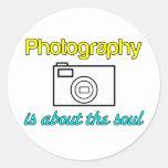 ¡La fotografía es buena para el alma! Pegatina Redonda