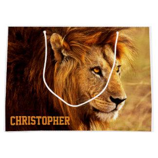 La fotografía noble del león bolsa de regalo grande