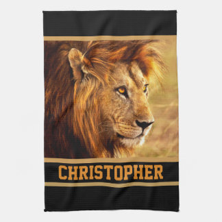 La fotografía noble del león toalla