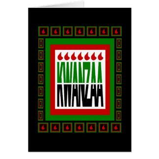 La fractura de Kwanzaa con 7 llamas y adornó el ma Felicitación