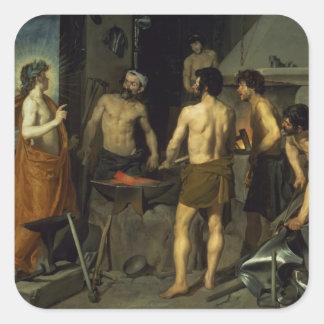La fragua de Vulcan, 1630 Pegatina Cuadrada
