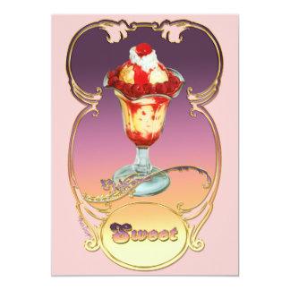 """La frambuesa del helado del helado invita invitación 5"""" x 7"""""""
