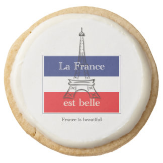 La France est Belle Round Shortbread Cookie