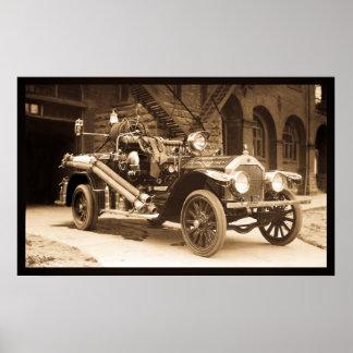 La France Fire Truck 1924 - Vintage Poster