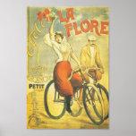 La francés Flore del anuncio de la bicicleta Póster