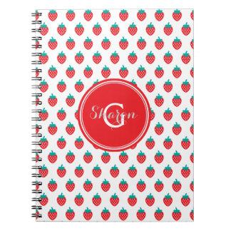 La fresa blanca roja femenina linda modela el cuaderno