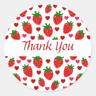 La fresa le agradece los pegatinas