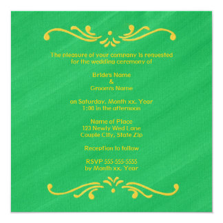 """La frontera amarilla de la flor de lis en el boda invitación 5.25"""" x 5.25"""""""