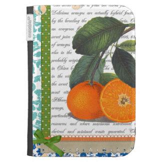 La fruta anaranjada del vintage enciende la caja