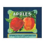 La fruta Apple del hilandero etiqueta - Yakima, WA Lona Estirada Galerías