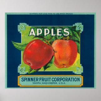 La fruta Apple del hilandero etiqueta - Yakima, WA Póster