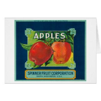 La fruta Apple del hilandero etiqueta - Yakima WA Felicitacion