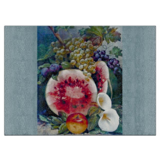 La fruta de las uvas de la sandía florece la tabla de cortar