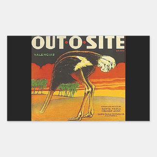 La fruta del Hacia fuera-O-Sitio de la avestruz Pegatina Rectangular
