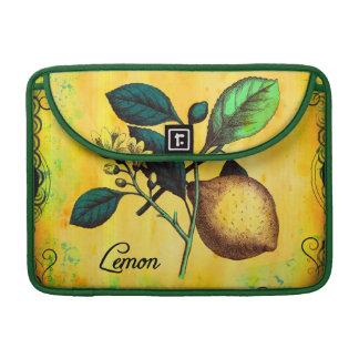 La fruta del limón florece el vintage de las hojas fundas para macbooks