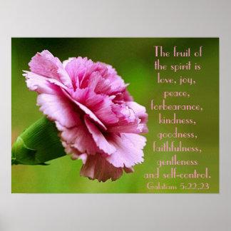 La fruta del recordatorio del verso de la biblia d póster