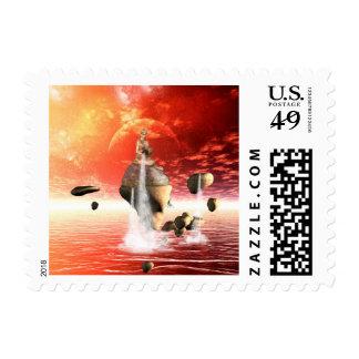 La fuente de agua sello postal