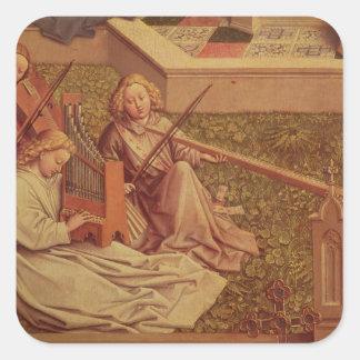 La fuente de la tolerancia, detalle del ángel tres pegatina cuadradas personalizada