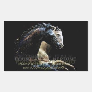 La fuente de Neptuno - Mar-caballos Rectangular Pegatina