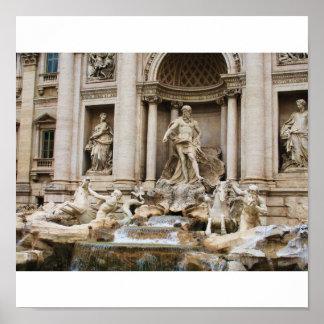 La fuente del Trevi en la ciudad de Roma Póster