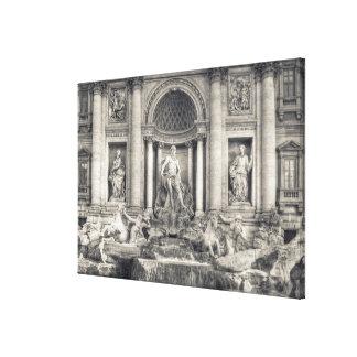 La fuente del Trevi (italiano: Fontana di Trevi) 4 Impresiones En Lona Estiradas