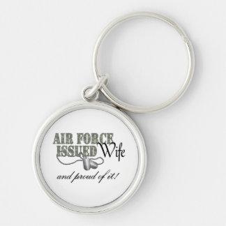 La fuerza aérea publicó a la esposa llavero redondo plateado