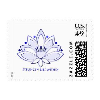La fuerza del flor de Lotus azul miente dentro Sello