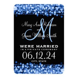 """La fuga elegante de la boda chispea azul invitación 4.5"""" x 6.25"""""""
