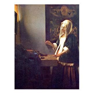 ¿La furgoneta Delft, enero de Vermeer muere Perlen Tarjeta Postal