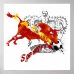 La Furia España Toro Artwork gifts and tees Poster