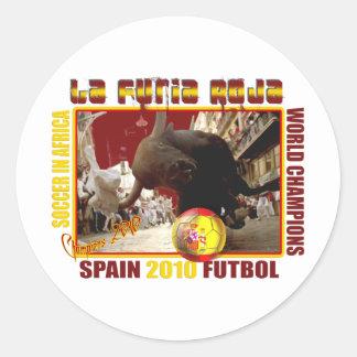 La Furia Roja Spanish Bull Soccer Futbol Classic Round Sticker