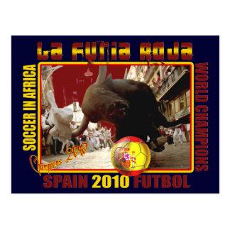 La Furia Roja Spanish Bull Soccer Futbol Postcard