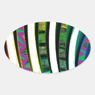 La fusión curva arte gráfico moderno del modelo pegatina ovalada